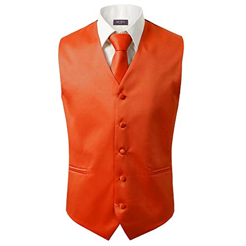(3 Pcs Vest + Tie + Hankie Men's Fashion Formal Dress Suit Slim Tuxedo Waistcoat Coat (Large, Orange) )