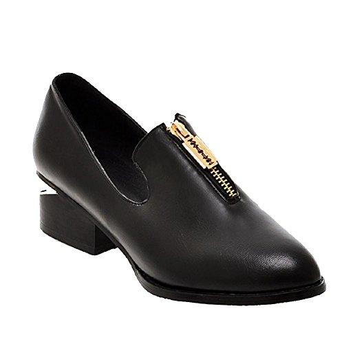 Amoonyfashion Dames Pu Lage Hakken Spitse Gesloten Teen Stevige Rits Pumps-schoenen Zwart