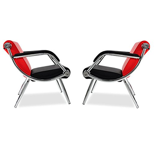 BORELAX 2Pcs Red and Black PU Leather Office Reception Chair Waiting Room Visitor Guest Sofa Seat