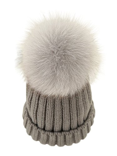 LITHER Women Winter Kintted Beanie Hats with Real Fox Fur Pom Pom ()