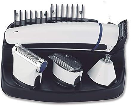 Tm Electron TMNT110 Kit de arreglo personal con maquinilla cortapelos profesional inalámbrica recargable con tecnología Microblade, 6 en 1, resistente al agua y soporte de carga y Almacenamiento