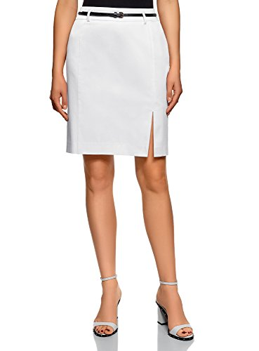 oodji Collection Women's Straight Belted Skirt, White, 10 Collection Women Skirts