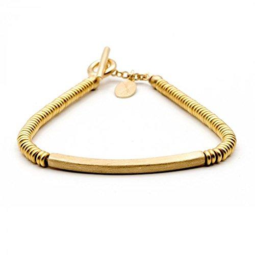 Double Bone - Double Bone Yellow Gold TAG Beads Bracelet DBBMT00Y