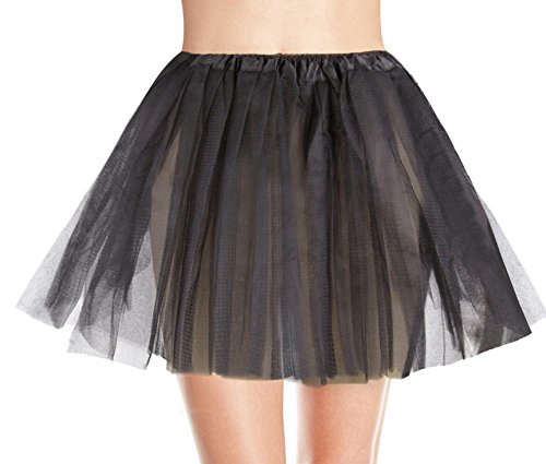 Women's, Teen, Adult Classic Elastic 3, 4, 5 Layered Tulle Tutu Skirt (One Size, Black 3Layer) - Black Tutu Skirts For Women