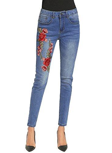Denim Floral Jeans - Women's Slim Denim Skinny High Waist Boyfriend Jean Floral Embroidered Denim Jeans Pockets Bule M