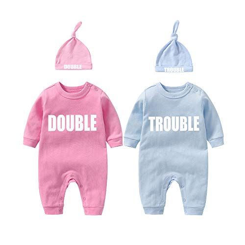 YSCULBUTOL Twins Bodysuits Funny Double Trouble Pack of 2 Twins Set with hat (WhiteBlack 10-13M)