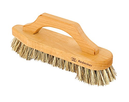 Redecker Union Fiber Scrub Brush with Oiled Beechwood Bow-Shaped Handle, 8-5/8-Inches