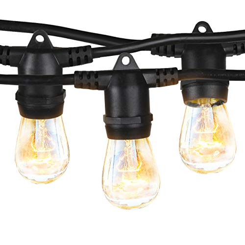 Brightech Ambience Pro - 48 Ft Cafe Lights for Indoor Spaces Create Great Bistro Ambience - Waterproof Outdoor String Lights - Hanging, Vintage 11W Incandescent Edison Bulbs ()
