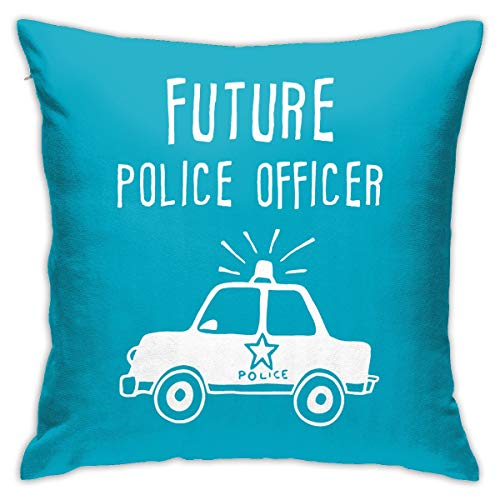 Square Decorative Throw Pillow Cases Cushion Covers - Future Police Officer 18 X 18 Inch for Home, Couch, Sofa, Or Bed, Modern Design -