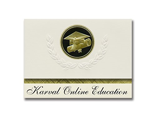 Signature Announcements Karval Online Education (Karval, CO) Graduation Announcements, Presidential style, Basic package of 25 Cap & Diploma Seal. Black & Gold.