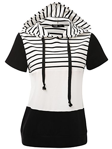 JayJay Women Casual Athleisure Short Sleeve Striped Contrast Color Pullover Hoodie Sweater Shirt,Black,L