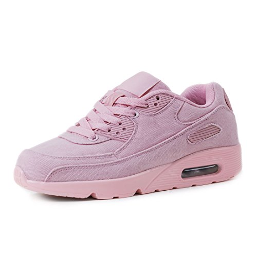 Trendige Unisex Damen Herren Laufschuhe Schnür Sneaker Sport Fitness Turnschuhe Pink Jeansoptik
