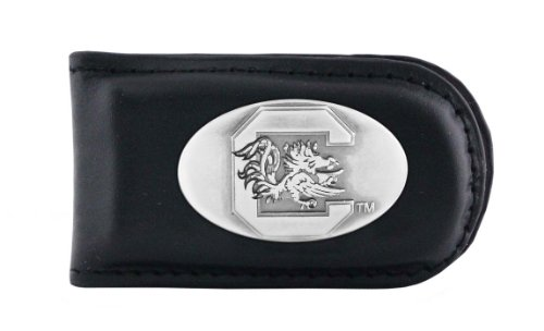 South Carolina Black Leather - NCAA South Carolina Fighting Gamecocks Black Leather Magnet Concho Money Clip, One Size