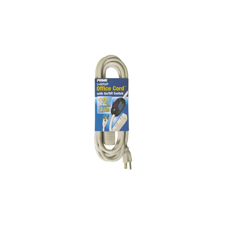 Prime Wire & Cable EC974612K 12 Foot 16/3 SJT 3 Outlet Office Cord with ln Line Switch, Beige