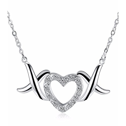 925 Sterling Silver XOXO Love Open Heart Pendant Necklace For Women Teen Girls Prime Jewelry Gift