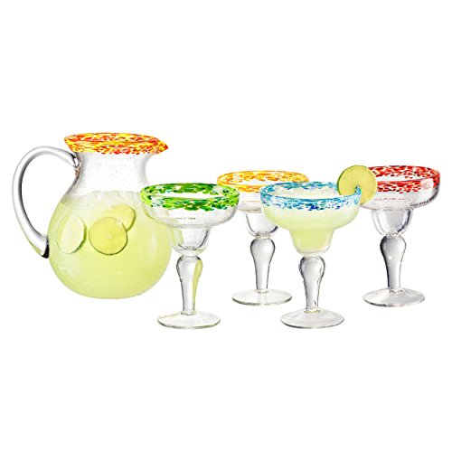 Artland 5 Piece Mingle Margarita Glass set and 1 Pitcher (Set of 4), Assortment