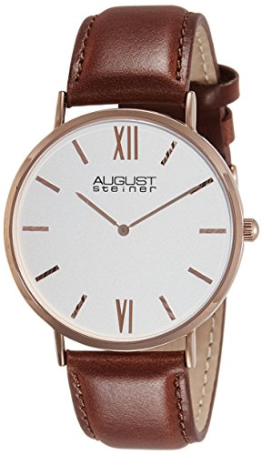 August-Steiner-Mens-AS8166RGBR-Rose-Gold-Tone-Watch-with-Brown-Strap