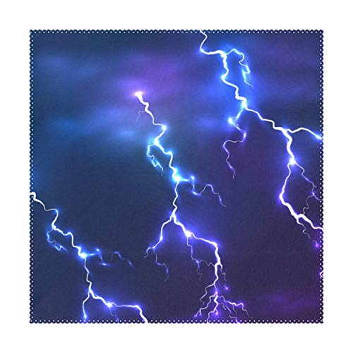"""LORVIES Dark Sky Blue Lightning Placemats 1 Piece, Heat-Resistant Placemats Stain Resistant Washable Polyester Square Table Place Mat for Kitchen Decorative Dining Table, 12""""x12"""""""
