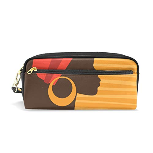 Pencil Case Leather Durable Pen Holder African American Woman Pouch Stationery Bag Coin Purse Cosmetic Makeup ()