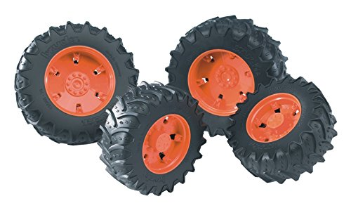 (Bruder Twin Tires with Rims for 03000 Series Tractor, Orange)