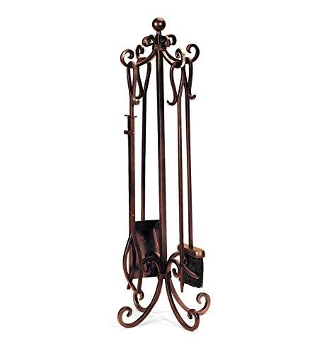 Plow & Hearth Crest Scroll Design Solid Steel Fireplace Tool Set with Tongs, Shovel, Broom, Poker and Stand 12 dia. x 34.75 H Bronze Finish