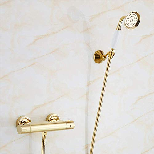 (Bathroom Wall Mounted Smart Climate Golden Shower, Gold Plated Bathtub Faucet Double, Golden Full Copper Hot and Cold Mixer )