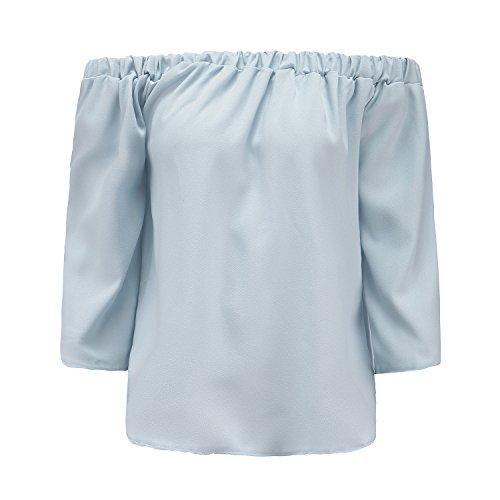 ZhiYuanAN Damas Blusa Camiseta Cuello Barco Mangas Largas Blusa Sin Hombros Con Escote Remata Gris