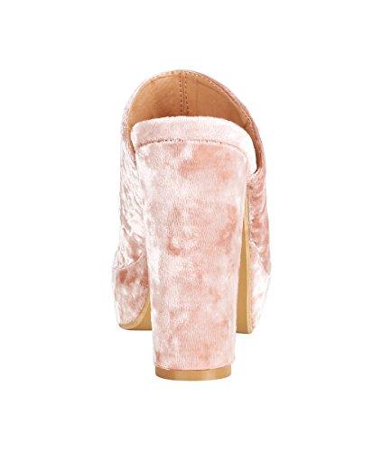 KRISP Zapatos Verano Mujer Estrellas Tacón Alto Ancho Plataforma Tacones Sandalias Fiesta Rosa