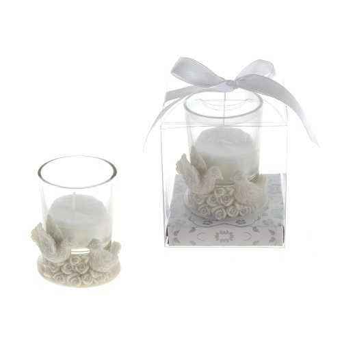Lunaura Wedding Keepsake - Set of 12 Two Doves on Roses Candle Set Favors - White