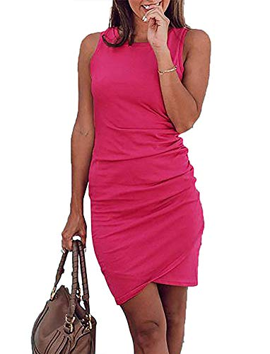 (Women's Sleeveless Bodycon Mini Dresses - Sexy Ruched Tulip Hem Sheath Sundress Large Rose)