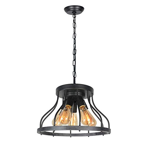 Beuhouz Rustic Hanging Pendant Lighting, Metal and Wood Round Farmhouse Chandelier Light Fixture Industrial Wire Cage Pendant Light for Kitchen Dining Room Bedroom 5 Light Edison E26 8031 (Cage Wire Pendant)