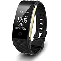 WALTSOM Smart Bracelet Waterproof Fitness Tracker Heart Rate Monitor Sports Pedometer Smartwatch Bluetooth Wristband with Call Reminder/ Calorie Counter/ Remote Camera for Android IOS Smartphone-Black