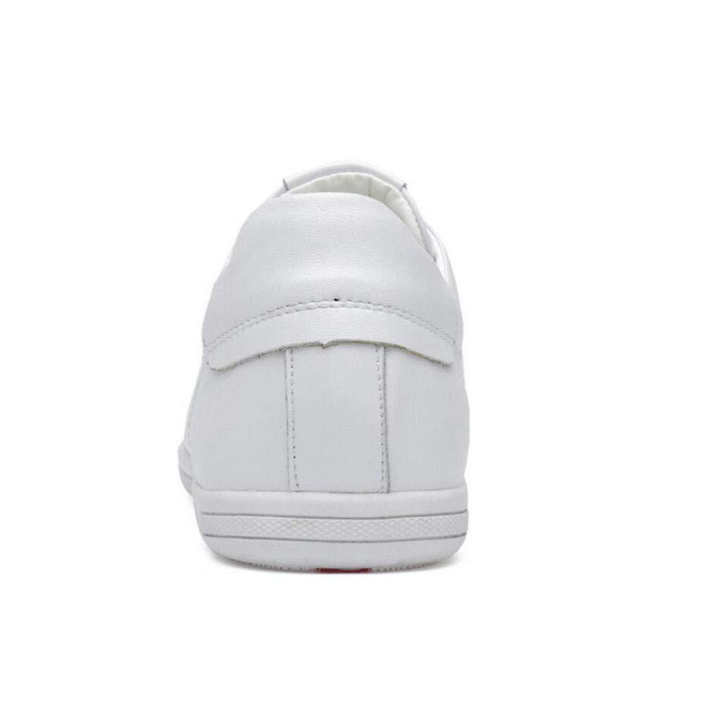 Zxcvb Zxcvb Zxcvb Zapatillas de Deporte Respirables de Cuero de la Zapatilla de Deporte de la Moda Unisex para Todas Las Estaciones Negro/Blanco (Color : Blanco, tamaño : 42 EU) ba8182
