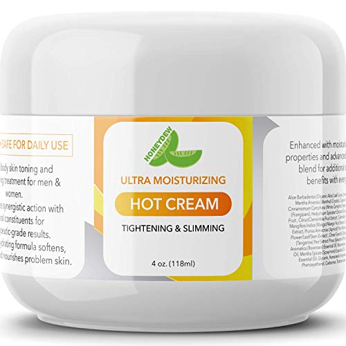 Hot Cream Cellulite Treatment - Belly Fat Burner for Women and Men - Natural Anti Aging Cream with Antioxidants and Essential Oils Rosemary Lavender Aloe - Deep Tissue Massage Muscle Relaxer