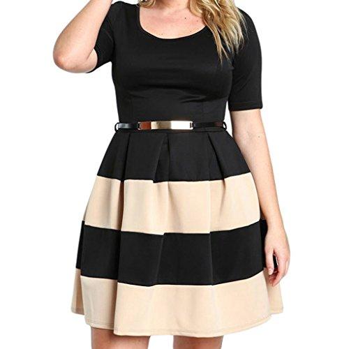 YeeATZ Women's Apricot Stripes Detail Belted Plus Size Skater Dress(Size,XXL) - Laced Wheel