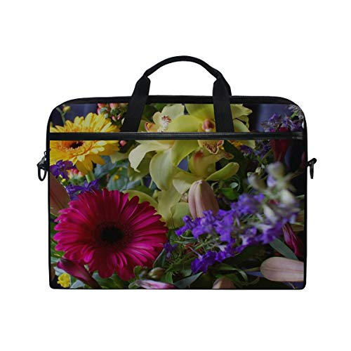 Rh Studio Laptop Bag with Shoulder Strap Handle Gerbera Orchids Flowers Bouquet Design Composition Messenger Bag Case Sleeve for 14 to 15.6 Inch with Adjustable Notebook Shoulder Strap
