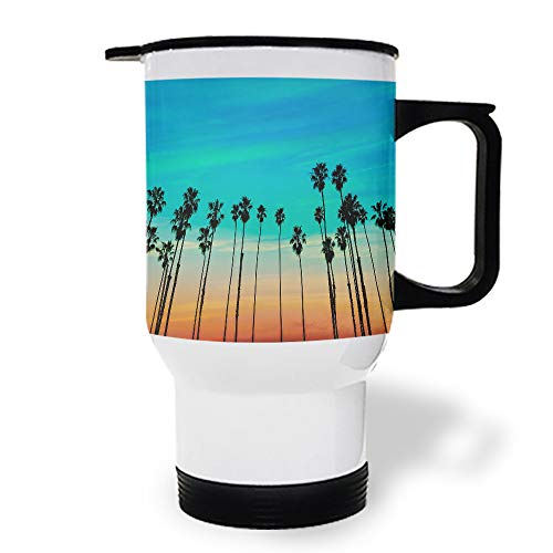 15 oz Stainless Steel Insulated Tumbler Travel Car Mug with Handle, Color Sky and Coconut Trees Coffee Mug with Lids, Double Wall Coffee Cups Mugs for Home Office from Roses Garden