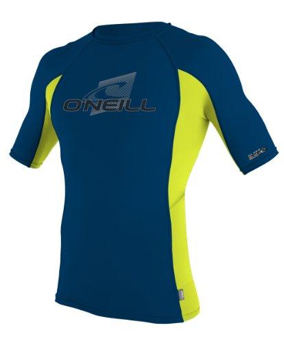 O'Neill Wetsuits Skins Short Sleeve Crew Rash Guard Shirt, Deep Sea/Lime, X-Small
