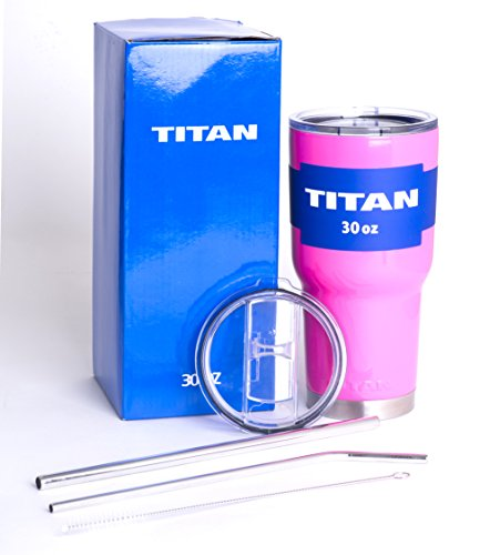 Titan Premium Stainless Steel Double Wall Vacuum Insulated Tumbler Bundle with 2 Lids (Spill-Proof and Sip), 2 Stainless Steel Straws, and Cleaning Brush