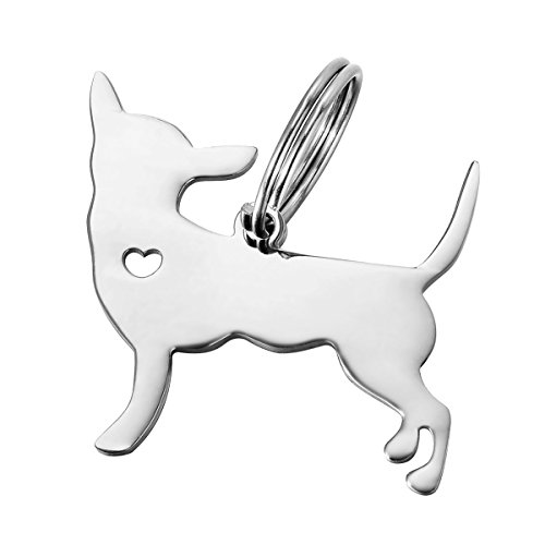 Chihuahua Keychain - HOUSWEETY 1pc Stainless Steel Chihuahua Dog Pendant 3x2.9cm