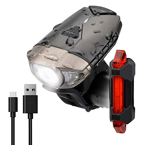 BRIVIGA Upgraded Bike Light Set, 380LM Bike Headlight USB Rechargeable with Free Tail Light, Waterproof Bicycle Headlight Set, Led Bike Lights Front and Back, Cycling Flashlights Rechargeable