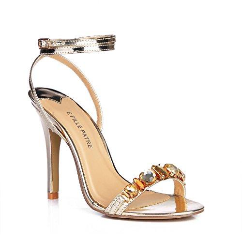 brisé chaussures à haut d'eau forage Nouvelles Sandales danse banquet fille talon Pale ceinture les de Femmes Chaussures Gold grande Pq6ZwPO
