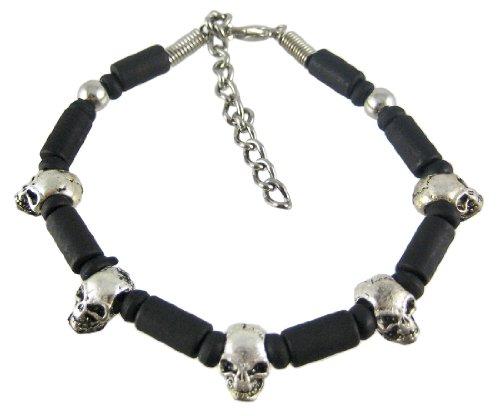 Chain Industrial Link Bracelet - Zeckos Metal Mens Chain Bracelets Industrial Black/Chrome Barrel Link Skull Bracelet Black