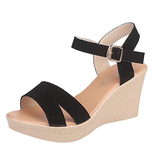 YKARITIANNA Women's Buckle Shallow Mouth Casual Shoes High-Heel Wedge Heel Female Sandals 2019 Summer Black