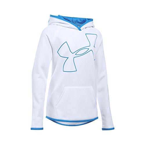 102 Fleece - Under Armour Girls' Armour Fleece Jumbo Logo Hoodie, White (102)/Water, Youth Small