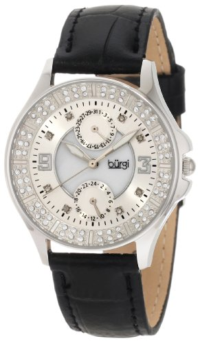 Burgi Women's BU44BK Round Diamond Classic Stainless Steel GMT Date Watch