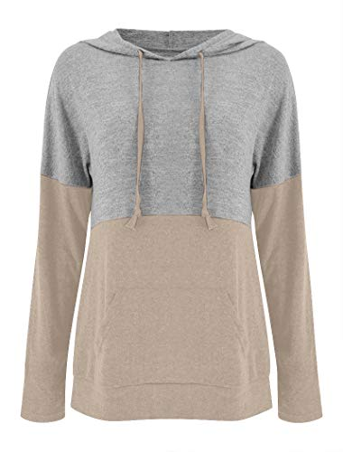 Vivitulip Women's Long Sleeve Pullover Hoodies Lightweight Color Block Sweatshirts Casual Comfy Fall Tops Tunics