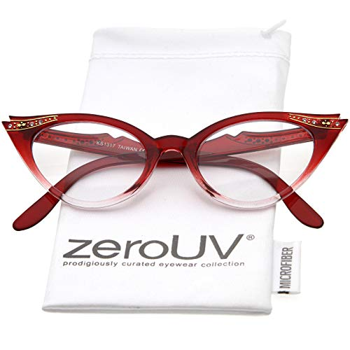 Vintage Cateyes 80s Inspired Fashion Clear Lens Cat Eye Glasses with Rhinestones (Red -
