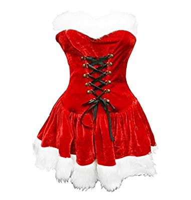 BSLINGERIE Red Christmas Santa Mrs. Claus Women Full Costume Outfit