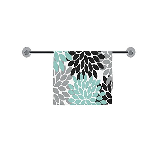 ADEDIY Fashion Custom Towel Black Grey Green Dahlia Floral P